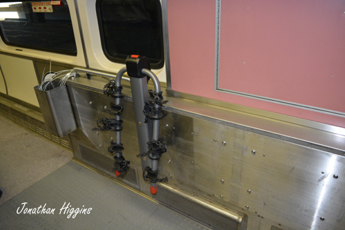 Bike Rack on the CapeFlyer Coach