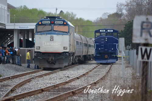 Amtrak Downeaster with PamAm Engine in Brunswick