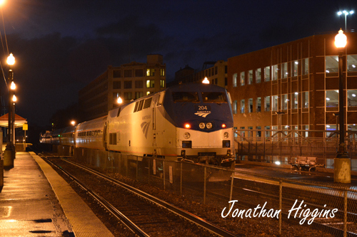 Amtrak Engine #204 at night in Haverhill, MA