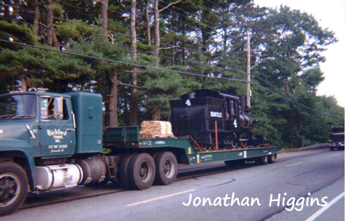 Edaville Engine No. 4 making its way to Maine  (Photo taken 1992)