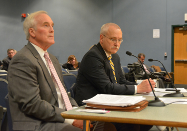 David Mohler, the Executive Director of the MassDOT Office of Transportation on Right and Stephen Jones director of transportation and customer service MassDOT on left.