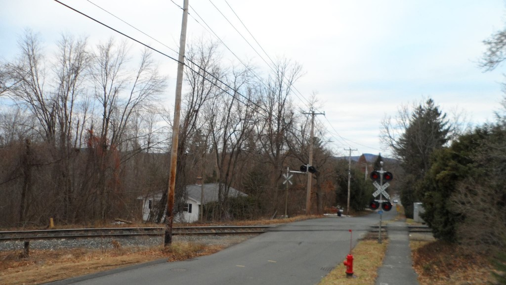 Train crossing on North Whitney Street in Amherst, Massachusetts