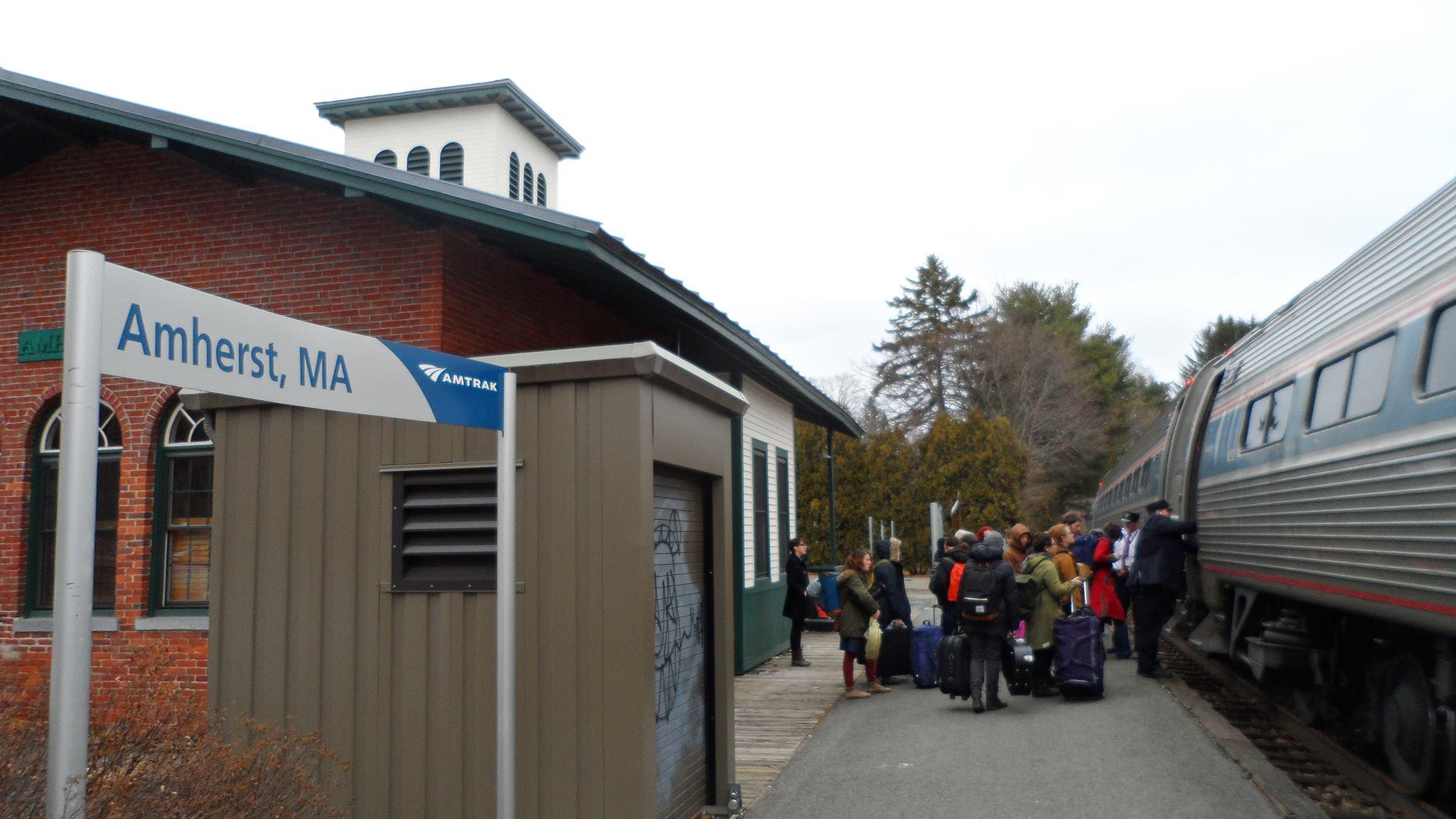 Vermonter pulls into Amherst station