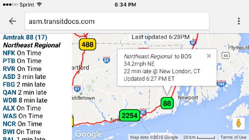 Amtrak Tracking Website