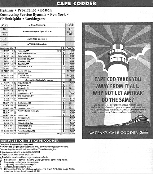 Cape Codder TimeTable 1996